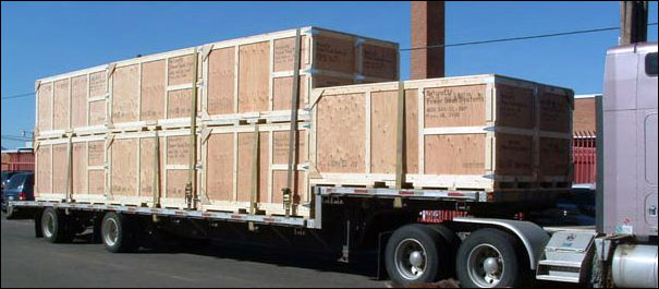 Crates on truck ready for shipping