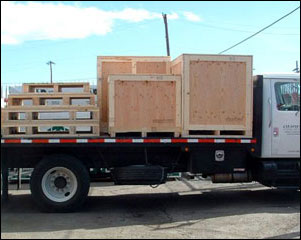 Crates and pallets local delivery truck