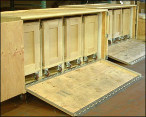 Crates for trade show with shuttle crates and access ramp