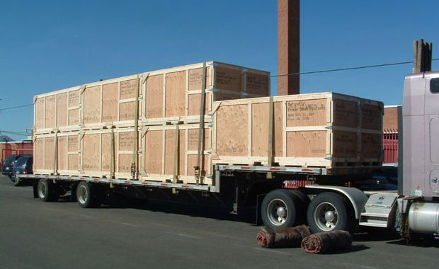 Wooden shipping Crates on flatbed