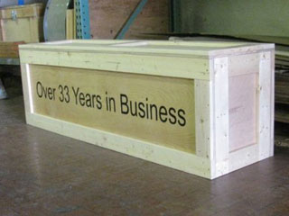 Over 33 Years in Business display crate