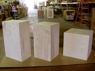 Pedestal display crates rear view