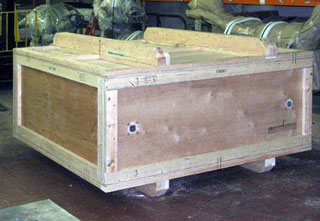 Wooden Insulated Shipping Crate skids on top and bottom