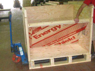 Insulated crate for special paint shipping.