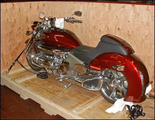 Shipping crate with motorcycle