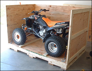 Wooden shipping crate with ATV