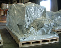 foil bag protecting equipment on pallet