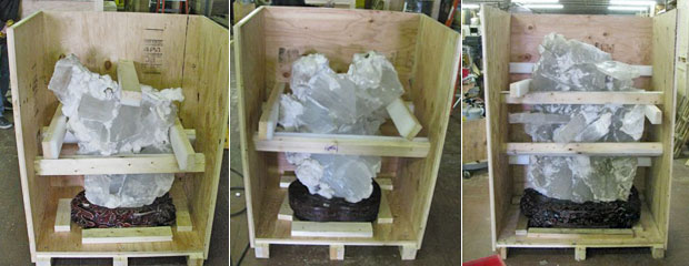 Crystals packed in shipping crate for Ammonite 2000