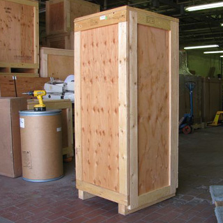 Used shipping crate exterior