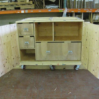 Used trade show crate interior front