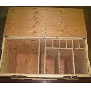 Used trade show crate interior top