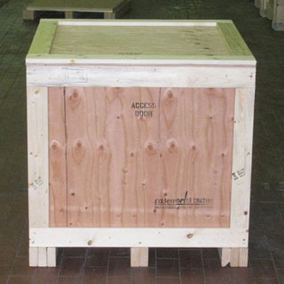 Surplus over run crate front view