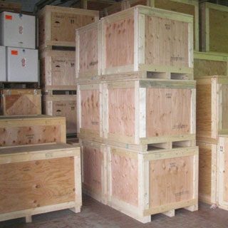 Surplus over run crates stacked