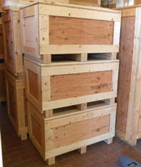 Suplus crates for sale, stacked three high