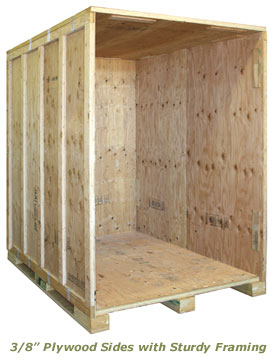 Storage vault has 3/8 Plywood Sides with 2 x 4 Framing