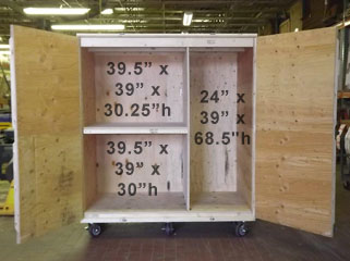 Surplus Crate interior view with dimensions