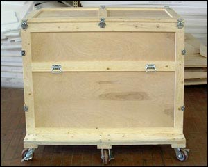 Custom Wood Shipping Crate with casters and latching lid