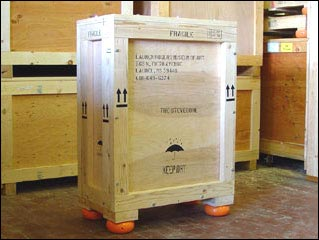 Custom Wood Crates labeled for Shipping museum fine art